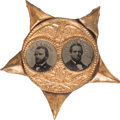 Political:Ferrotypes / Photo Badges (pre-1896), Grant & Colfax: Porthole Ferrotype Jugate....
