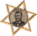 Political:Ferrotypes / Photo Badges (pre-1896), Ulysses S. Grant: Star Ferrotype Badge....