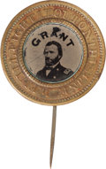 Political:Ferrotypes / Photo Badges (pre-1896), Ulysses S. Grant: Great Slogan Ferrotype Badge....