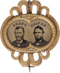 Political:Ferrotypes / Photo Badges (pre-1896), Grant & Colfax: Ferrotype Jugate....