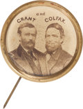 Political:Ferrotypes / Photo Badges (pre-1896), Grant & Colfax: Large Albumen Jugate Stickpin. ...