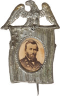 Political:Ferrotypes / Photo Badges (pre-1896), Ulysses S. Grant: Vertical Flag Albumen Badge....