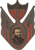 Political:Ferrotypes / Photo Badges (pre-1896), Ulysses S. Grant: Shield & Flags Portrait Badge....
