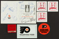 Hockey Collectibles:Publications, 1974 Philadelphia Flyers Team Signed Brochure With Ashbee and OtherSports Trinkets. ...