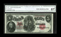 Fr. 87 $5 1907 Legal Tender CGA Gem Uncirculated 67.This bright and nicely centered example bears a high certified grade...