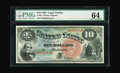 Large Size:Legal Tender Notes, Fr. 96 $10 1869 Legal Tender PMG Choice Uncirculated 64. Here is adelightful example of a Rainbow Jackass sporting nice mar...