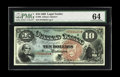 Large Size:Legal Tender Notes, Fr. 96 $10 1869 Legal Tender PMG Choice Uncirculated 64. Themargins on this Rainbow are particularly large for the type and...