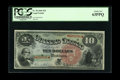 Large Size:Legal Tender Notes, Fr. 96 $10 1869 Legal Tender PCGS Choice New 63PPQ. This is abeautiful Rainbow $10 that sports a large top margin that exhi...