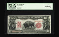 Large Size:Legal Tender Notes, Fr. 114 $10 1901 Legal Tender PCGS Gem New 65PPQ. This broadlymargined Bison hidden away for many years is near a known run...