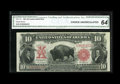 Large Size:Legal Tender Notes, Fr. 119 $10 1901 Legal Tender CGA Choice Uncirculated 64. Thislovely bison has excellent margins and incredibly flashy, bri...