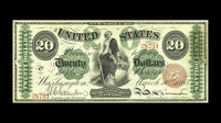 Fr. 126b $20 1863 Legal Tender Choice About New. This is a strictly original beautifully bright early twenty. It has per...