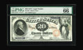 Large Size:Legal Tender Notes, Fr. 128 $20 1875 Legal Tender PMG Gem Uncirculated 66 EPQ. Both theSeries 1875 and 1878 $20s are distinguished by a pair of...
