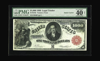 Featured item image of Fr. 187k $1000 1880 Legal Tender PMG Extremely Fine 40. Only four examples of this number are known, two of which are foreve...