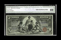 Large Size:Silver Certificates, Fr. 248 $2 1896 Silver Certificate CGA Gem Uncirculated 66. Twoother notes are known from this sheet, both of which are rec...