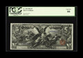Large Size:Silver Certificates, Fr. 269 $5 1896 Silver Certificate PCGS Gem New 66. Broad marginsencircle this $5 Ed from a better Friedberg number. The pa...
