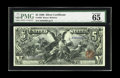 Large Size:Silver Certificates, Fr. 269 $5 1896 Silver Certificate PMG Gem Uncirculated 65 EPQ. Astunning example of this most elegant of all U.S. currency...