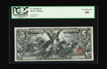 Large Size:Silver Certificates, Fr. 269 $5 1896 Silver Certificate PCGS Very Choice New 64. Thecolor of this note enhances the artwork displayed. Truly a m...