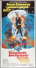 "Movie Posters:James Bond, Diamonds are Forever (United Artists, 1971). Three Sheet (41"" X76.5""). James Bond.. ..."
