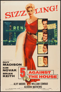 "5 Against the House (Columbia, 1955). One Sheet (27"" X 41""). Film Noir"