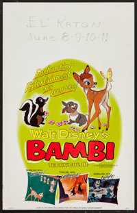 "Bambi (Buena Vista, R-1966). Window Card (14"" X 22""). Animation"
