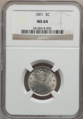 Liberty Nickels: , 1891 5C MS64 NGC. NGC Census: (152/77). PCGS Population (189/104).Mintage: 16,834,350. Numismedia Wsl. Price for problem f...