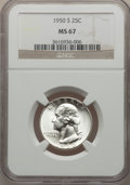 Washington Quarters: , 1950-S 25C MS67 NGC. NGC Census: (221/2). PCGS Population (57/0).Mintage: 10,284,004. Numismedia Wsl. Price for problem fr...