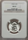 Washington Quarters: , 1944-S 25C MS67 NGC. NGC Census: (311/1). PCGS Population (82/3).Mintage: 12,560,000. Numismedia Wsl. Price for problem fr...