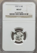 Mercury Dimes: , 1937-S 10C MS67 NGC. NGC Census: (137/3). PCGS Population (68/0).Mintage: 9,740,000. Numismedia Wsl. Price for problem fre...