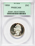Proof Washington Quarters: , 1959 25C PR68 Cameo PCGS. PCGS Population (118/9). NGC Census:(217/73). Numismedia Wsl. Price for problem free NGC/PCGS c...