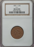 Half Cents: , 1851 1/2 C MS63 Brown NGC. C-1. NGC Census: (99/89). PCGSPopulation (74/36). Mintage: 147,672. Numismedia Wsl. Price forp...