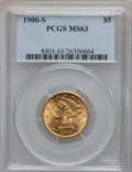 Liberty Half Eagles: , 1900-S $5 MS63 PCGS. PCGS Population (238/164). NGC Census:(77/83). Mintage: 329,000. Numismedia Wsl. Price for problem fr...