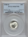Roosevelt Dimes: , 1948-D 10C MS67 Full Bands PCGS. PCGS Population (97/2). NGCCensus: (123/4). Mintage: 52,841,000. Numismedia Wsl. Price fo...