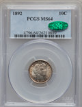 Barber Dimes: , 1892 10C MS64 PCGS. CAC. PCGS Population (307/191). NGC Census:(331/217). Mintage: 12,121,245. Numismedia Wsl. Price for p...