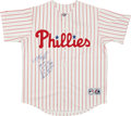 Baseball Collectibles:Uniforms, Mike Schmidt Signed Philadelphia Phillies Stat Jersey. ...