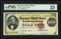 Large Size:Gold Certificates, Fr. 1206 $100 1882 Gold Certificate PMG Very Fine 25.. ...