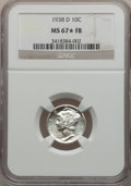 Mercury Dimes: , 1938-D 10C MS67 ★ Full Bands NGC. NGC Census: (162/5). PCGSPopulation (267/11). Mintage: 5,5...