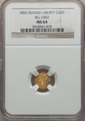 California Fractional Gold: , 1859 50C Liberty Round 50 Cents, BG-1002, High R.4, MS64 NGC. NGCCensus: (2/5). PCGS Population (11/9). (#10831)...