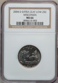 Statehood Quarters, 2004-D 25C Wisconsin Extra Leaf Low MS66 NGC. NGC Census: (15/1).PCGS Population (214/3). Numismedia Wsl. Price for probl...