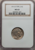 Buffalo Nickels: , 1913-S 5C Type Two MS63 NGC. NGC Census: (173/321). PCGS Population(334/483). Mintage: 1,209,000. Numismedia Wsl. Price fo...