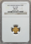 California Fractional Gold: , 1872 50C Indian Round 50 Cents, BG-1048, Low R.4, MS64 NGC. NGCCensus: (2/0). PCGS Population (24/9). (#10877)...