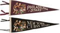 Baseball Collectibles:Others, Circa 1940's Philadelphia Stars and New York Cuban Stars NegroLeagues Pennants. ...