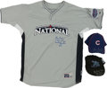 Autographs:Baseballs, 2008 Lou Piniella Game Worn Signed All Star Pregame Jersey and TwoGame Worn Caps. ...