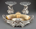 Silver Holloware, French:Holloware, A THREE PIECE HENRI PICARD ET FRÈRES SILVERED BRONZE FIGURAL TABLE GARNITURE . Henri Picard et Frères, Paris, France, circa ... (Total: 4 Items)