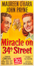 """Movie Posters:Comedy, Miracle on 34th Street (20th Century Fox, 1947). Three Sheet (41"""" X 79"""").. ..."""