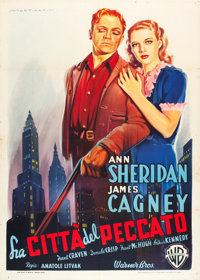 "City for Conquest (Warner Brothers, Late 1940s). First Post-War Release Italian 2 - Foglio (39"" X 55"")"