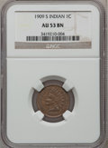 Indian Cents: , 1909-S 1C AU53 NGC. NGC Census: (92/778). PCGS Population (43/416).Mintage: 309,000. Numismedia Wsl. Price for problem fre...