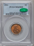 Lincoln Cents: , 1911 1C MS65 Red PCGS. CAC. PCGS Population (192/106). NGC Census:(100/74). Mintage: 101,177,784. Numismedia Wsl. Price fo...