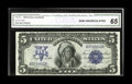 Large Size:Silver Certificates, Fr. 272 $5 1899 Silver Certificate CGA Gem Uncirculated 65. The margins are perfectly proportioned and evidence of embossing...