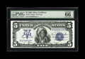 """Large Size:Silver Certificates, Fr. 275 $5 1899 Silver Certificate PMG Gem Uncirculated 66 EPQ.Broadly margined is this """"Exceptional Paper Quality"""" note wi..."""