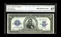 Large Size:Silver Certificates, Fr. 282 $5 1923 Silver Certificate CGA Gem Uncirculated 67. Nicely centered and margined is this embossed Porthole that has ...